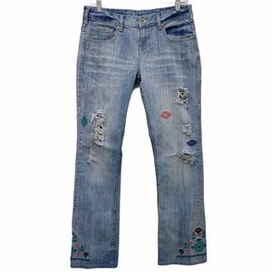 Cowgirl Tuff Embroidered Aztec Bootcut Jeans